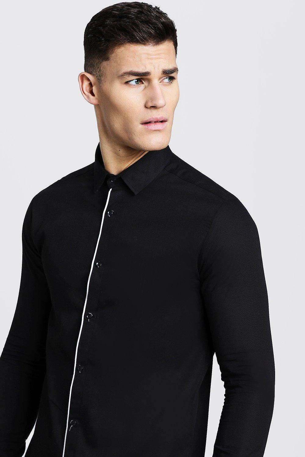 Slim Fit Long Sleeve Shirt With Placket Piping