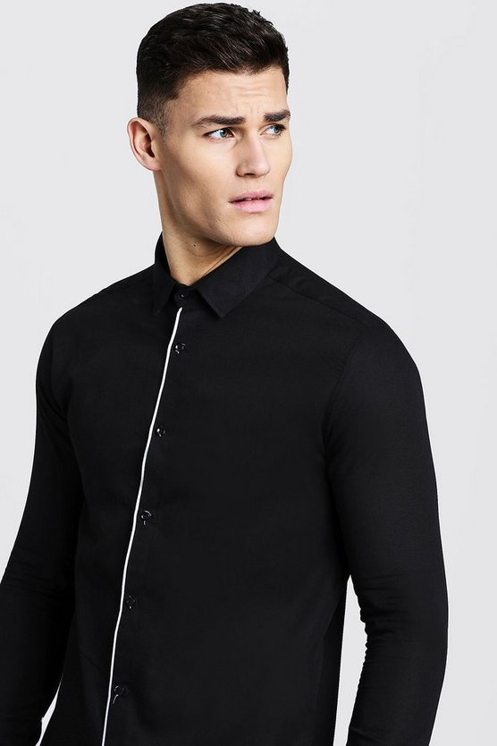 Mens Black Slim Fit Long Sleeve Shirt With Placket Piping