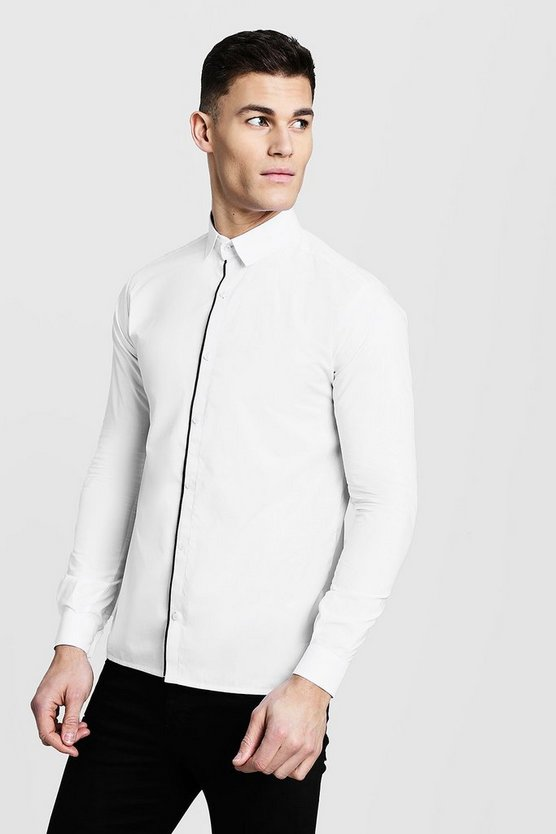 Mens White Slim Fit Long Sleeve Shirt With Placket Piping