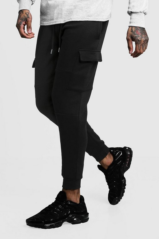 Mens Black Skinny Fit Panelled Cargo Joggers
