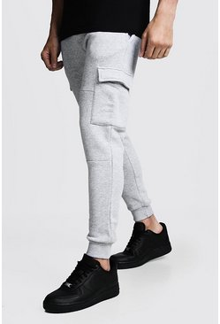 Jogging cargo Coupe skinny à empiècements, Gris