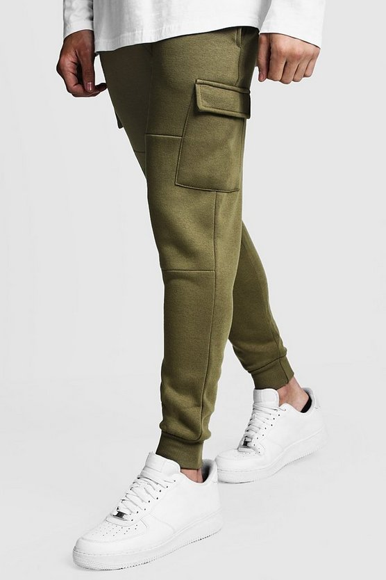 Jogging cargo Coupe skinny à empiècements, Olive, Homme