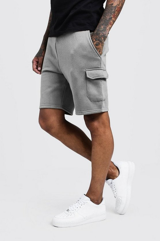 Mens Grey Mid Length Cargo Jersey Shorts