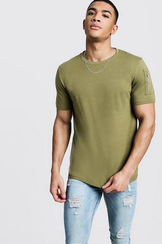 Mens Olive Crew Neck T-Shirt With MA1 Pocket
