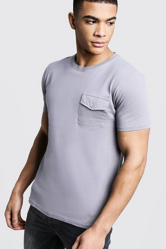 Crew Neck T-Shirt With Utility Pocket