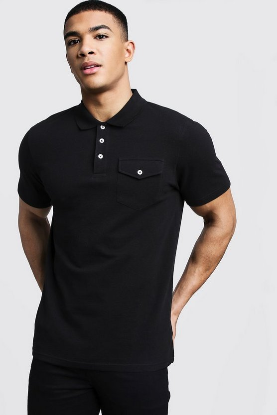 Mens Black Pique Polo With Utility Pockets