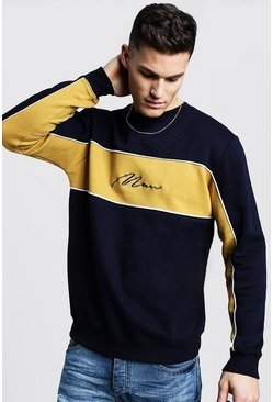 Mens Mustard Colour Block MAN Signature Sweater