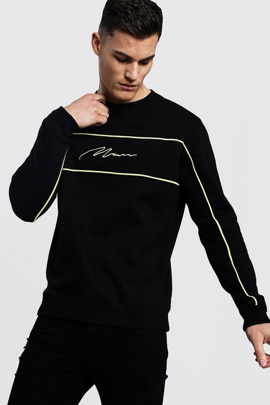 Mens Black MAN Signature Sweater With Lime Piping