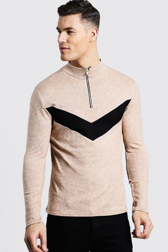 Mens Camel Half Zip Chevron Knitted Jumper