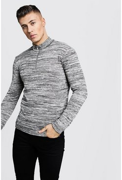 Mens Taupe Half Zip Funnel Neck Jumper