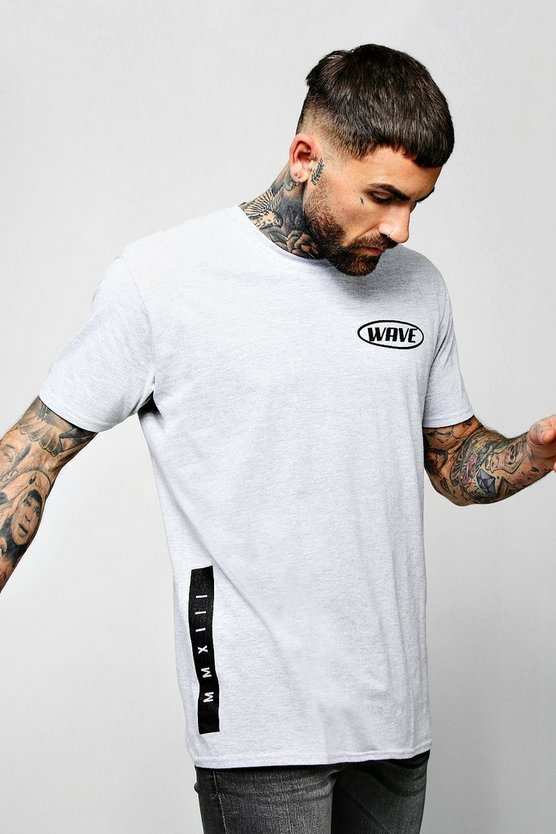 Mens Grey Oversized Wave Crew Neck T-Shirt