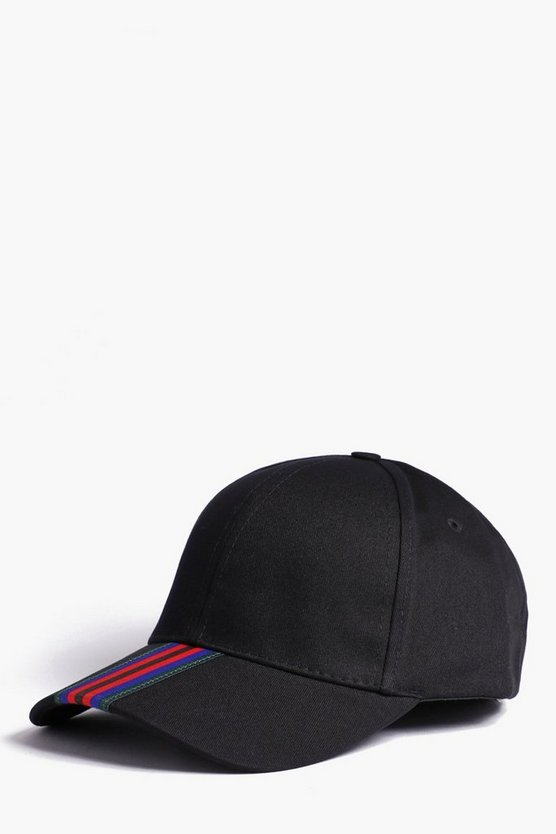 Mens Black Stripe Tape Peak Detail Cap