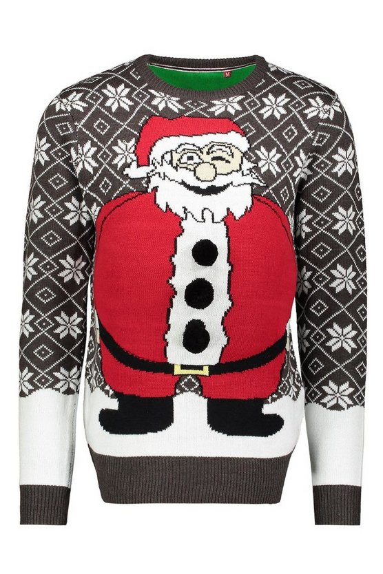 Charcoal Novelty Santa Belly Christmas Jumper