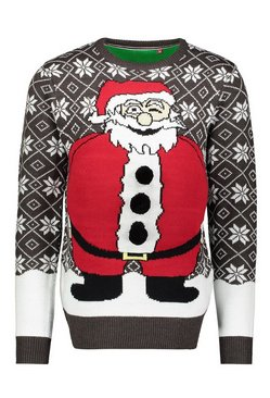 Mens Charcoal Novelty Santa Belly Christmas Sweater