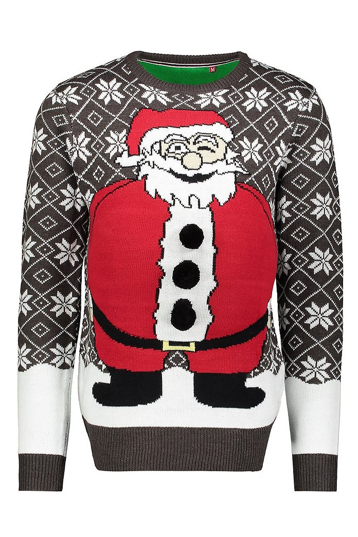Christmas Jumpers.Novelty Santa Belly Christmas Jumper Boohooman