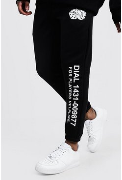 Mens Black Casino Print Detail Slim Jogger