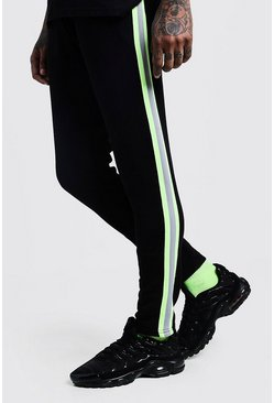 Mens Black Neon Tape Detail Skinny Fit Jersey Joggers