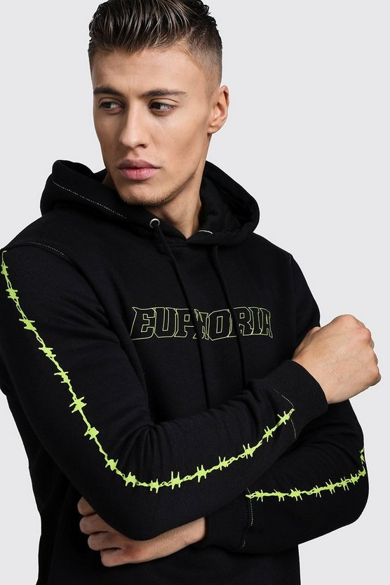 Euphoria Neon Print Over The Head Hoodie