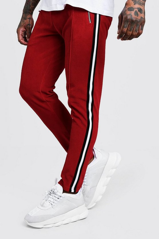Velour Jogger With Side Tape Detail