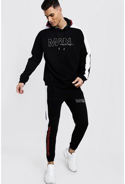 Mens Black MAN International Print Hooded Tracksuit