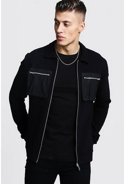 Mens Black Rib Utility Detail Harrington Jacket