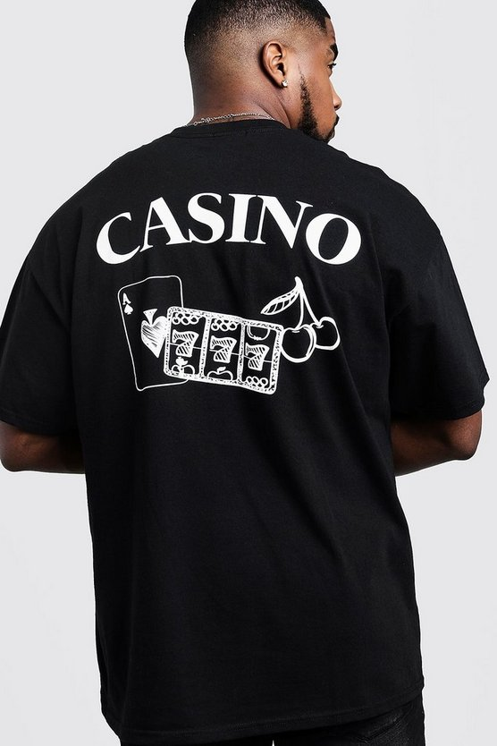 Mens Black Big & Tall Casino Back Print T-Shirt