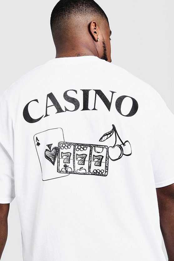Mens White Big & Tall Casino Back Print T-Shirt