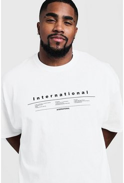 "Big & Tall T-Shirt mit ""International""-Print, Weiß, Herren"