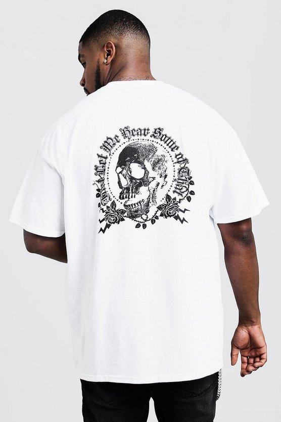 Big & Tall Skull And Rose Back Print T-Shirt