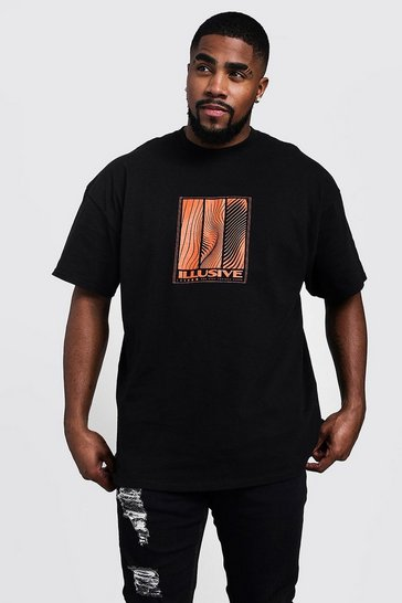 Mens Black Big & Tall Illusive Print T-Shirt