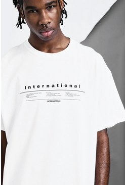 "Camiseta con estampado ""International"", Blanco, Hombre"