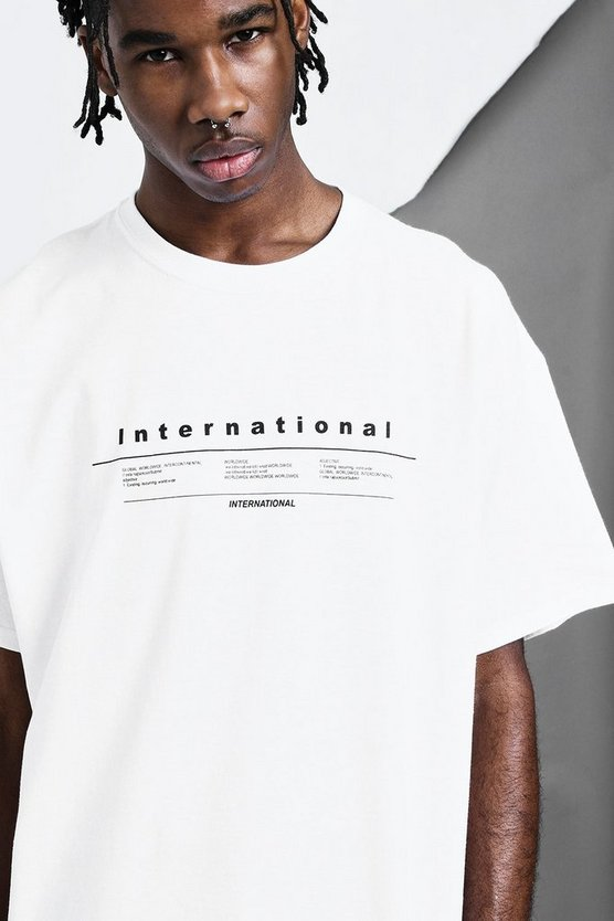 Mens White International Print T-Shirt