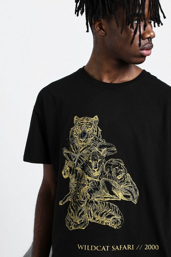 Mens Black Oversized Big Cat Tonal Print T-Shirt