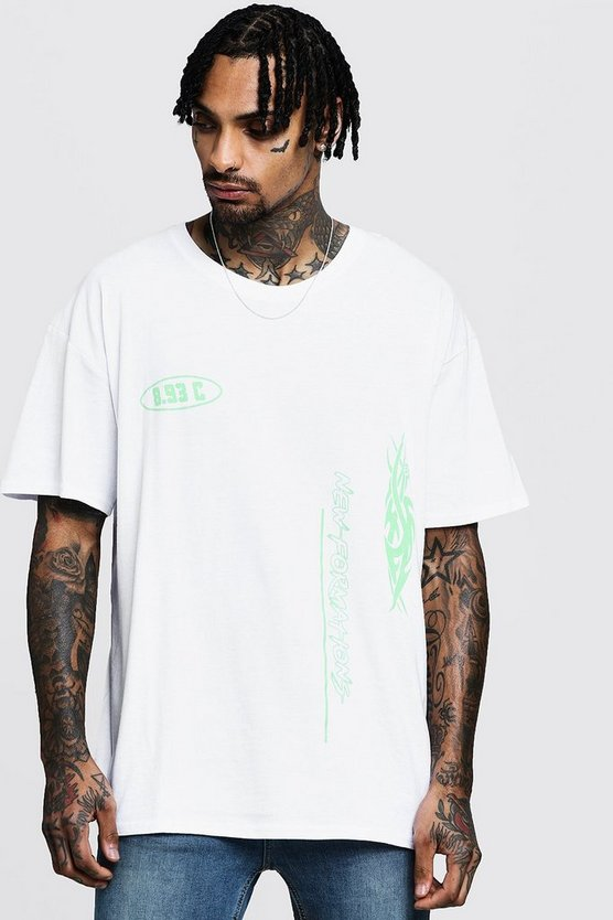 Oversized Neon Placement Print T-Shirt