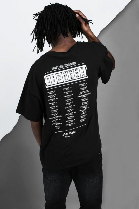 Oversized Casino Sinners Design T-Shirt