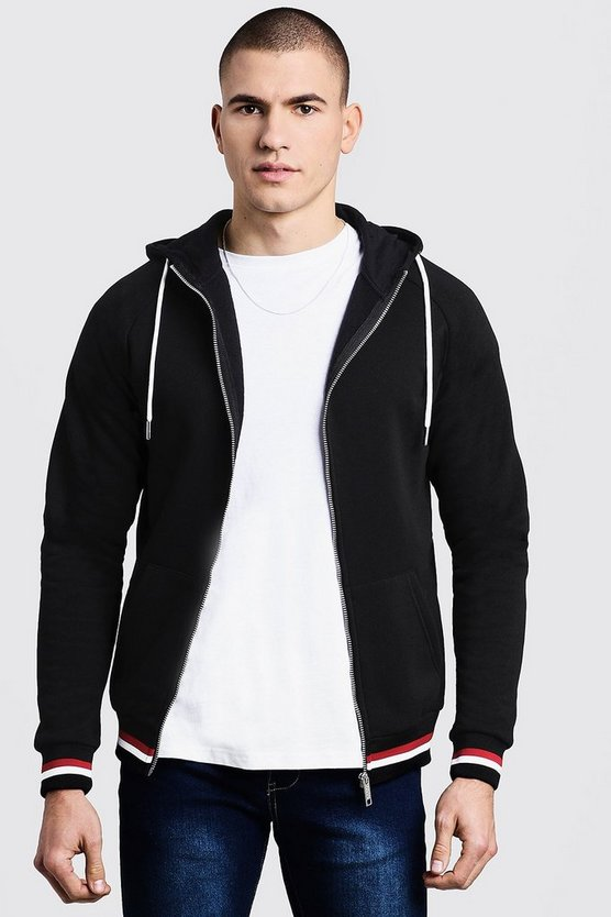 Mens Black Zip Through Hoodie With Sports Rib Detail