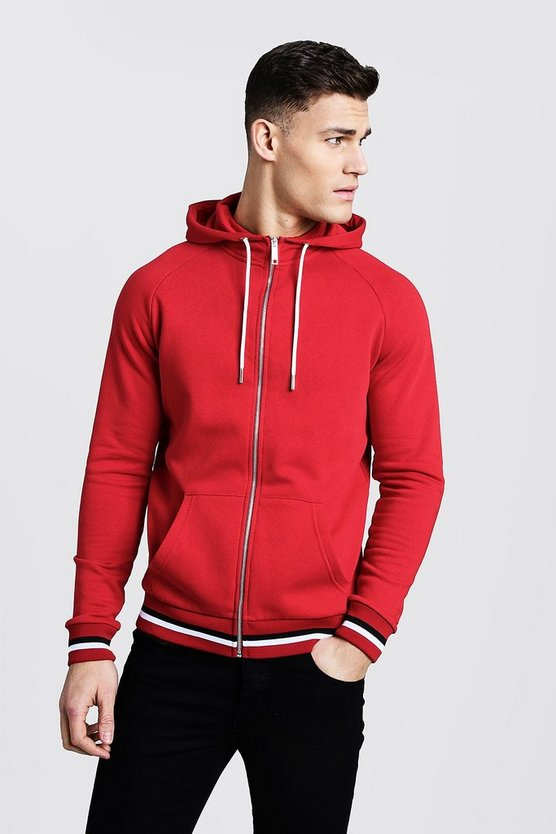 Zip Through Hoodie With Sports Rib Detail