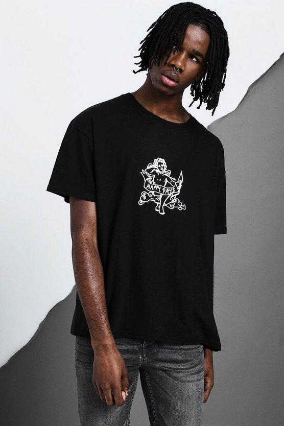 Black Oversized Cherub Design T-Shirt
