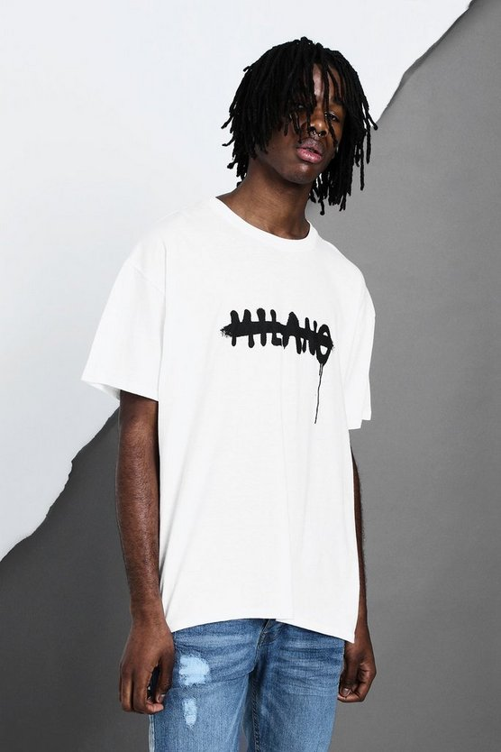 Mens White Oversized Milano Graffiti T-Shirt