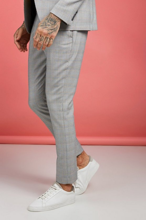 Mens Grey Mustard Vintage Check Smart Trouser