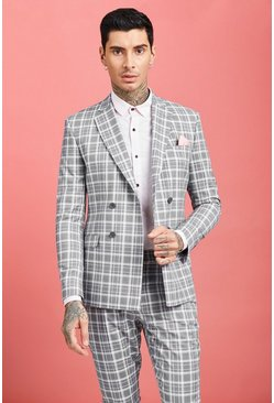 Mens Grey Ice Cream Check Double Breasted Jacket