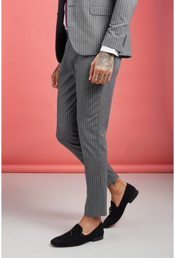 Grey Skinny Wide Stripe Smart Pants