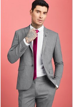 Herr Grey Wide Stripe Skinny Fit Suit Blazer