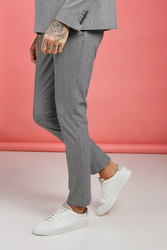 Grey Summer Micro Check Skinny Fit Trouser
