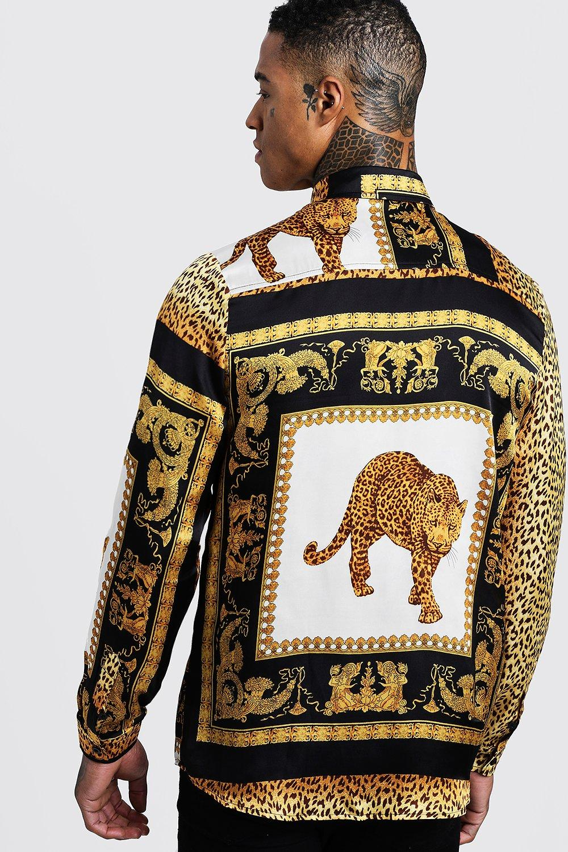 Leopard Tile Print Long Sleeve Satin Shirt