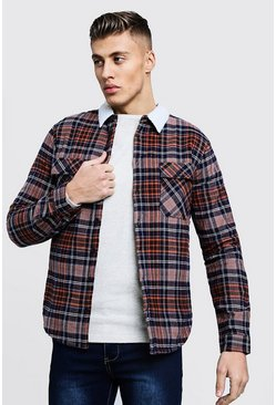 Mens Brown Borg Lined Flannel Check Overshirt