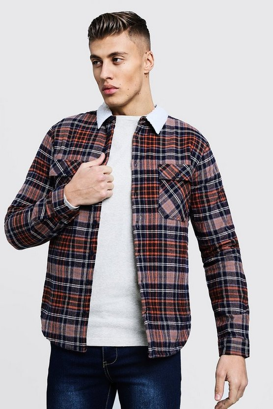Borg Lined Flannel Check Overshirt