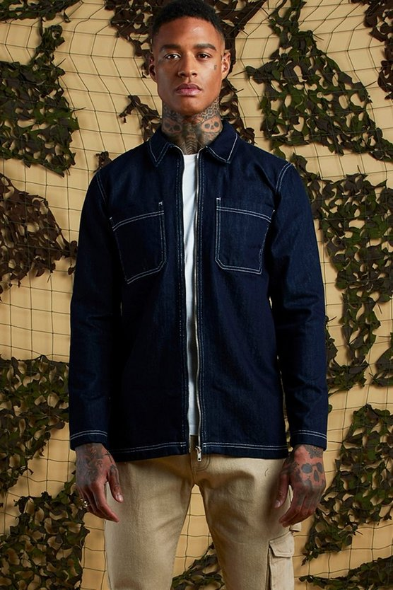 Mens Indigo Denim Utility Shacket With Contrast Stitch