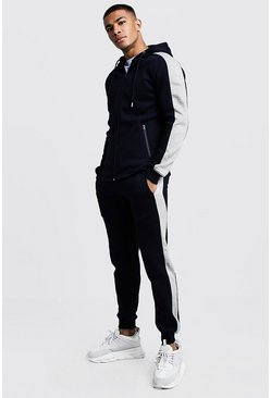 Mens Navy Zip Hooded Funnel Neck Tracksuit With Panels