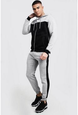 Mens Grey Colour Block Zip Through Tracksuit